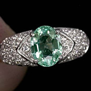 SOLD Oval Paraiba Green Tourmaline Ring With White Sapphires