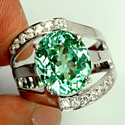 REDUCED Green Gemstone  Ring Of  4.70 Cts.  &  White Sapphires