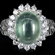 REDUCED Pretty 4.25 Carot Green Prehnite Gemstone Ring