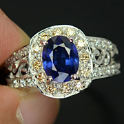 REDUCED Kashmire Blue Sapphire Ring With Champagne & White Sapphires