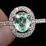 REDUCED SALE:  Green Tourmaline Ring With White Sapphires