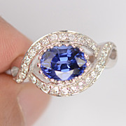 REDUCED Lovely Blue Oval Sapphire Ring With White Sapphires