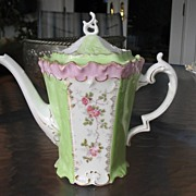 R.S. Prussia Hand Painted Pink Roses Coffee Pot, Paneled,Mold OM 47, 1899.