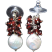 Beautiful Earrings of Genuine Briolette Rubies & Fresh Water Pearls