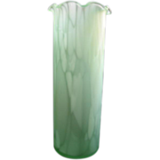 SALE Lovely Vintage Minty Green Speckled Tall Blown Glass Vase