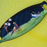 R. S. Prussia RARE Hand Painted 2 Scene Black Celery Tray,  Pheasants