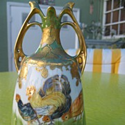 SALE VERY RARE Hand Painted Secnic Chickens & Daisy Vase