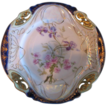 RS Prussia, ES Prov Saxe Floral,Cobalt Blue & Gold Pierced Plate