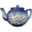 "Flow Blue Arthur Woods ""Country Life"" Tea Pot,  MINT"