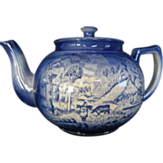 "REDUCED Flow Blue Arthur Woods ""Country Life"" Tea Pot,  MINT"