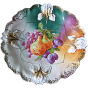 RS Prussia Rare & Gorgeous Fruit Decor Plate, Iris Mold, Mint