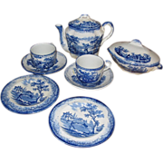 SALE Sale, Flow Blue Ridgways Humphrey's Child's Tea Set,  10 PCS. Mint