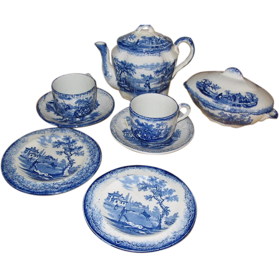 Sale, Flow Blue Ridgways Humphrey's Child's Tea Set,  10 PCS. Mint