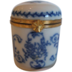 Antique Flow Blue French Cylindrical Porcelain Trinket Pot, Mint