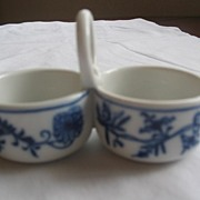 Meissen Crossed Sword's, Double Handled Salt. MINT