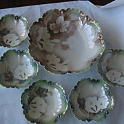 SALE BARGIN: Lovely RS Prussia Lillies Berry Bowl Set, 6 Pieces