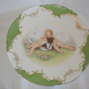 "REDUCED SALE: Adorable Cupid's Kissing Plate ""Haviland & C0."" , 9"", Limoges MIN"