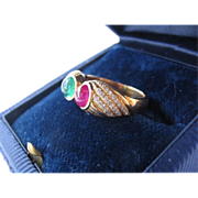 Estate 18K Gold Ring, Diamond's,  With Cabochon Ruby & Emerald