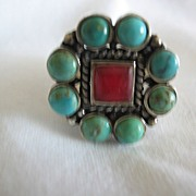 REDUCED Arizona Indian Fancy Turquoise & Red Coral Ring in Sterling Silver