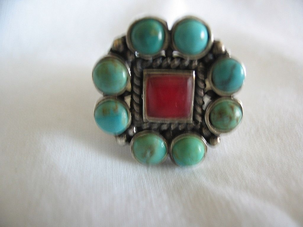 Arizona Indian Fancy Turquoise & Red Coral Ring in Sterling Silver