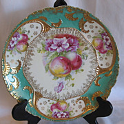 REDUCED R S Prussia Related Stunning Charger, Lots of Gold, Florals & Fruit,