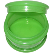 REDUCED French Opaline Glass Apple Green Round Trinket Box, Fluorescence