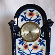REDUCED Flow Blue 1840's Hand Painted Gaudy Brush Stroke Clock