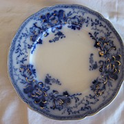 "REDUCED Flow Blue Gorgeous Antique Floral Plate, ""Richmond"" by Johnson Bros."