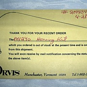 "SALE Vintage ORVIS ""Out-Of-Stock"" Card"