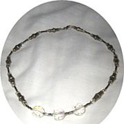 SALE Sterling, Steel, Glass & Vintage Crystal Necklace