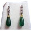 Elegant Emerald & Diamond Art Deco Vintage Dangle Earrings