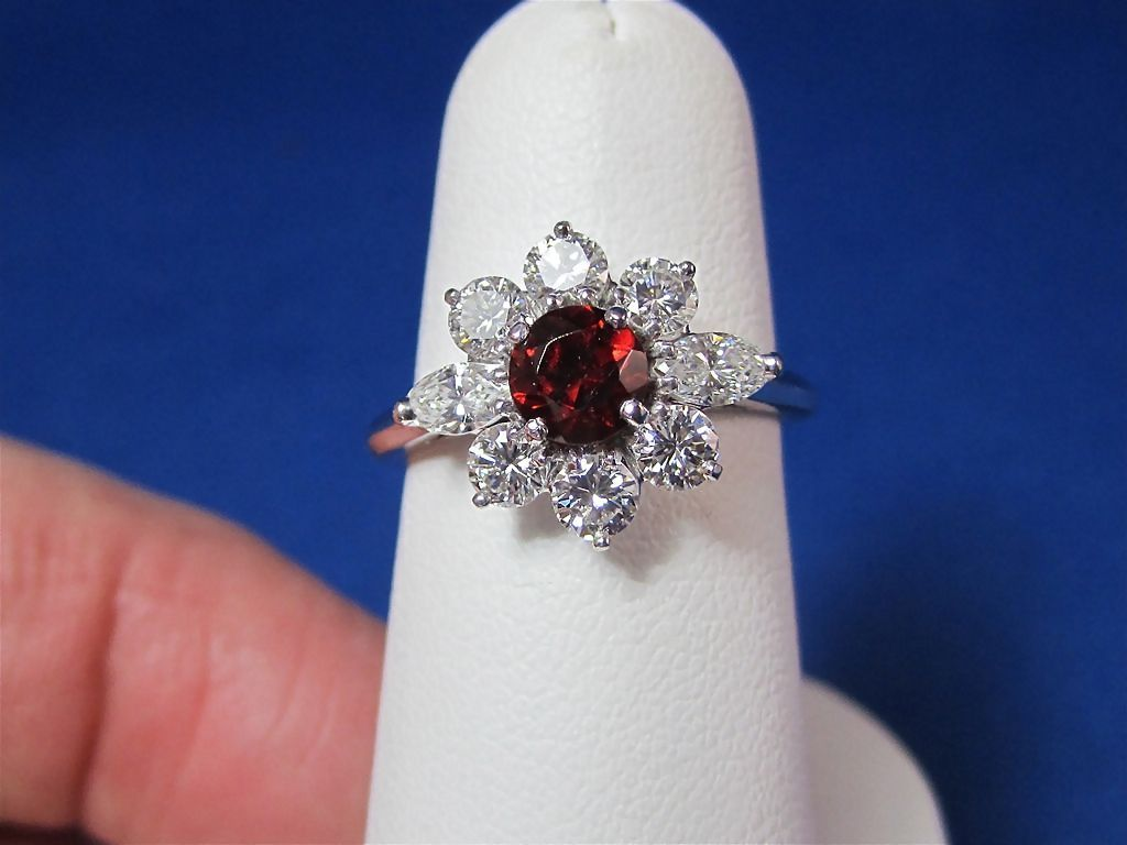 Garnet diamond gold estate ring 14k from mayfairjewel on for Garnet wedding ring meaning