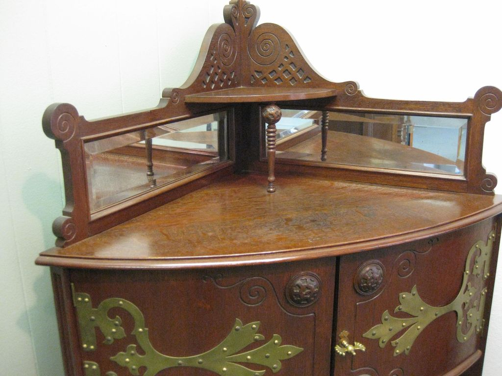 Antique Fancy Victorian Corner Display Cabinet, circa 1900