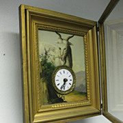 German Picture Frame Automaton Wall Clock, circa 1870