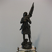 French Marble Mantle with Joan of Arc Statue
