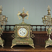 French Gilt and Onyx Garniture Clock Set, Marti, circa 1890