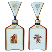 Opaline Cologne Bottles  with Cherubs -