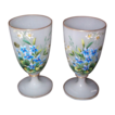 Two French Opaline Goblets with Raised Enameled Decorations