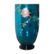 Blue Enameled  Glass Vase with Branches, Leaves & Flower