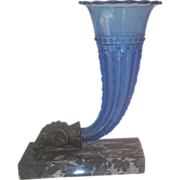 Blue Glass Single Cornucopia with Cast Bronze   Rams Head