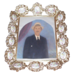 Vintage Brass Picture Frame w/Decorated Milk Glass Inserts