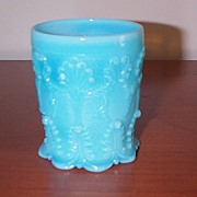 SOLD 4 European Blue Opaque Lacy Type Tumblers