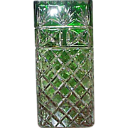 "Signed Green Cut To Clear Glass Vase - 10 1/2 "" Tall"