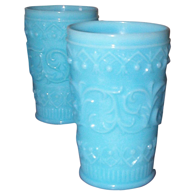 Six European Lacy Type Tumblers