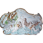 High Relief  Volkstedt  German Jasperware Plaque with Nude Figural Scene