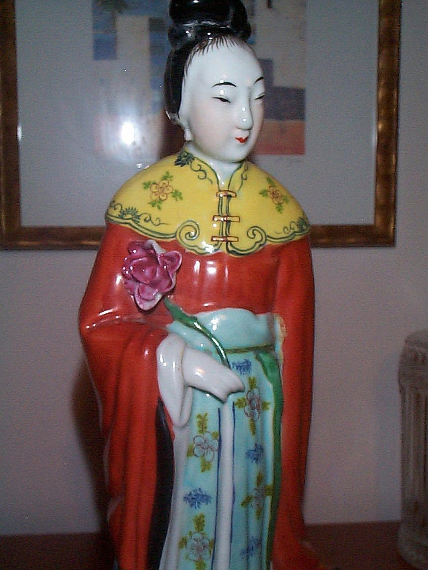 Tall 19C/Early 20th Century Chinese Figurine Holding Lotus Flower