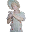 Tall Rudolstadt Lady Figurine Holding Bird in Hand