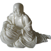 White Chinese  Glass Buddha