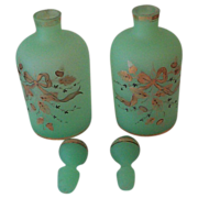 Two Jade Green Satin Finish Perfume Bottles with Decorations.