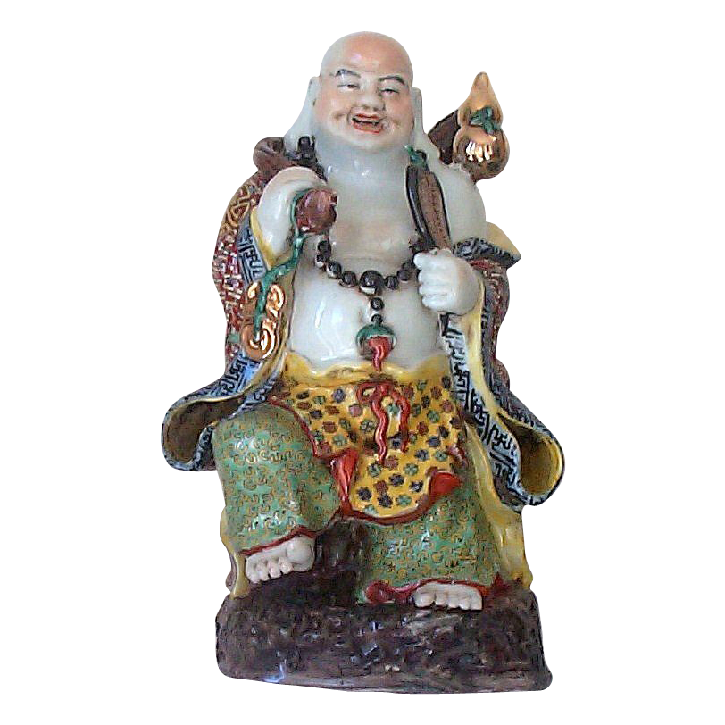 Signed 15&quot; Oriental Buddha Figurine - Enameled Traveling  Laughing  Buddha